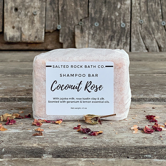 coconut rose shampoo bar